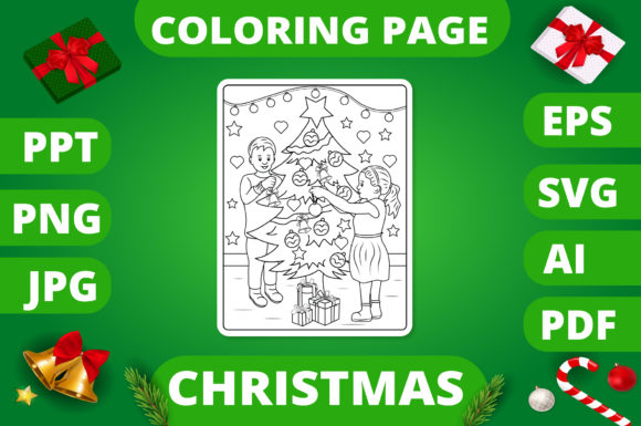 Print on Demand: Christmas Coloring Page for Kids #11 V2 Graphic Coloring Pages & Books Kids By MikeToon Studio