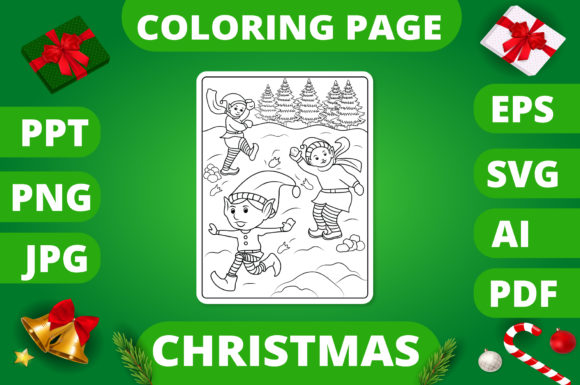 Print on Demand: Christmas Coloring Page for Kids #12 V2 Graphic Coloring Pages & Books Kids By MikeToon Studio