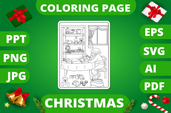 Print on Demand: Christmas Coloring Page for Kids #13 V2 Graphic Coloring Pages & Books Kids By MikeToon Studio