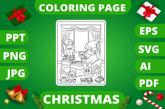 Print on Demand: Christmas Coloring Page for Kids #14 V2 Graphic Coloring Pages & Books Kids By MikeToon Studio