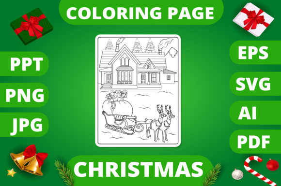 Print on Demand: Christmas Coloring Page for Kids #15 V2 Graphic Coloring Pages & Books Kids By MikeToon Studio