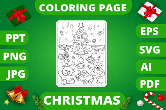 Christmas Coloring Page for Kids #16 V2 Graphic