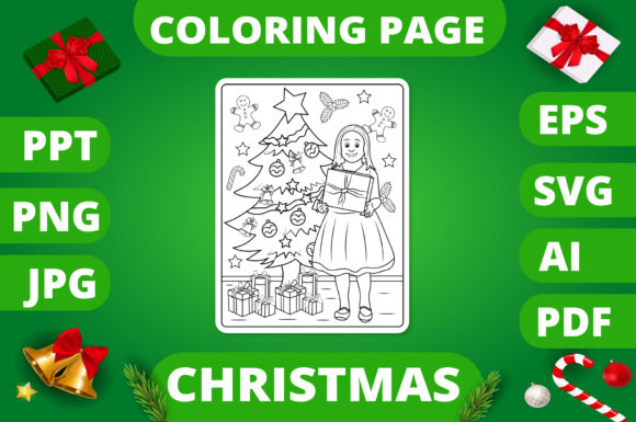 Print on Demand: Christmas Coloring Page for Kids #17 V2 Graphic Coloring Pages & Books Kids By MikeToon Studio