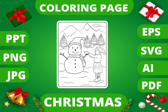 Christmas Coloring Page for Kids #18 V2 Graphic