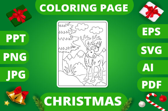 Print on Demand: Christmas Coloring Page for Kids #19 V2 Graphic Coloring Pages & Books Kids By MikeToon Studio