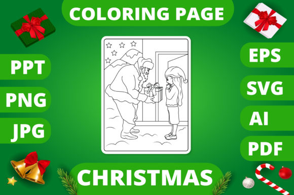 Print on Demand: Christmas Coloring Page for Kids #2 V2 Graphic Coloring Pages & Books Kids By MikeToon Studio