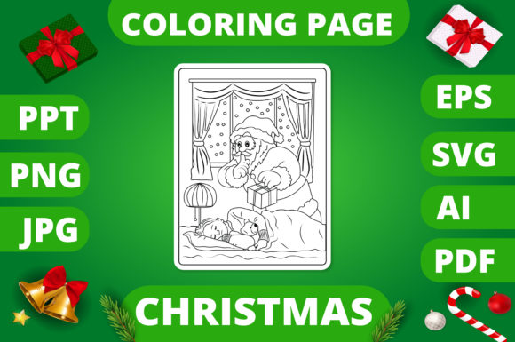 Print on Demand: Christmas Coloring Page for Kids #20 V2 Graphic Coloring Pages & Books Kids By MikeToon Studio