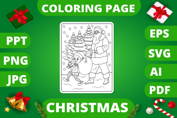 Print on Demand: Christmas Coloring Page for Kids #21 V2 Graphic Coloring Pages & Books Kids By MikeToon Studio