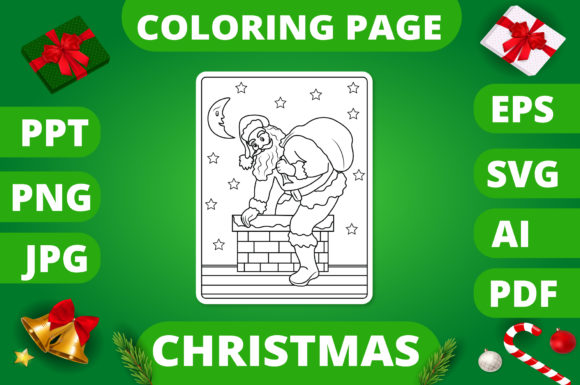 Christmas Coloring Page for Kids #22 V2 Graphic