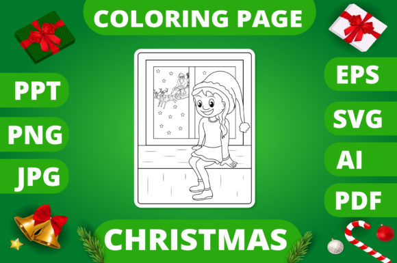 Christmas Coloring Page for Kids #23 V2 Graphic