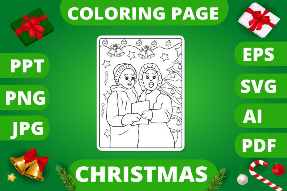 Print on Demand: Christmas Coloring Page for Kids #24 V2 Graphic Coloring Pages & Books Kids By MikeToon Studio
