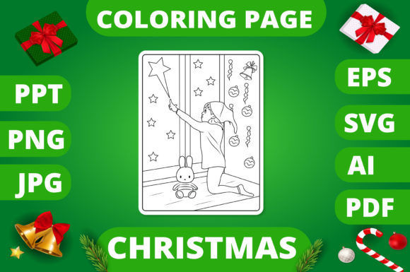 Print on Demand: Christmas Coloring Page for Kids #26 V2 Graphic Coloring Pages & Books Kids By MikeToon Studio
