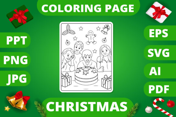 Print on Demand: Christmas Coloring Page for Kids #28 V2 Graphic Coloring Pages & Books Kids By MikeToon Studio
