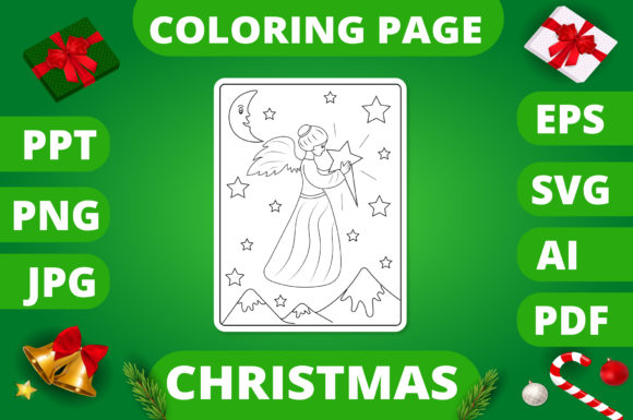 Print on Demand: Christmas Coloring Page for Kids #29 V2 Graphic Coloring Pages & Books Kids By MikeToon Studio