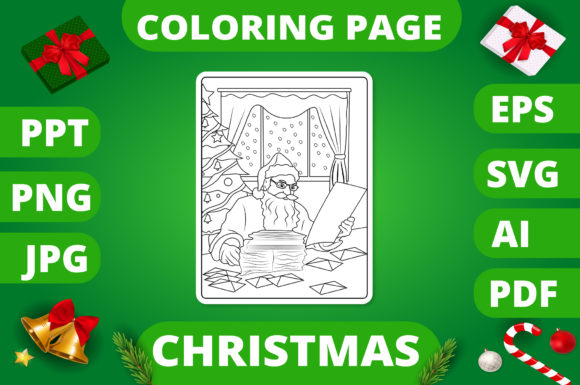 Print on Demand: Christmas Coloring Page for Kids #30 V2 Graphic Coloring Pages & Books Kids By MikeToon Studio