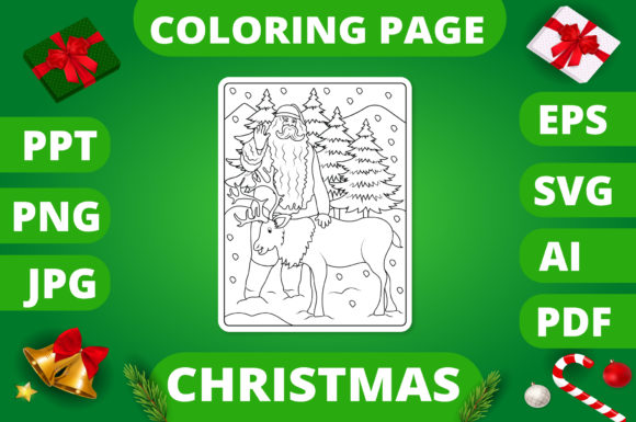 Print on Demand: Christmas Coloring Page for Kids #4 V2 Graphic Coloring Pages & Books Kids By MikeToon Studio