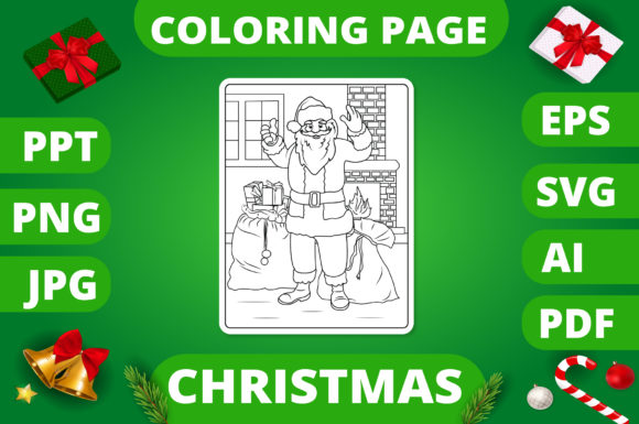 Christmas Coloring Page for Kids #5 V2 Graphic