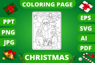 Print on Demand: Christmas Coloring Page for Kids #6 V2 Graphic Coloring Pages & Books Kids By MikeToon Studio