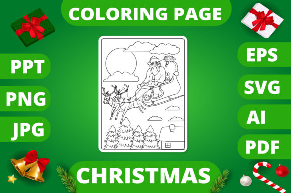 Print on Demand: Christmas Coloring Page for Kids #7 V2 Graphic Coloring Pages & Books Kids By MikeToon Studio