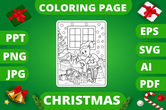 Print on Demand: Christmas Coloring Page for Kids #8 V2 Graphic Coloring Pages & Books Kids By MikeToon Studio