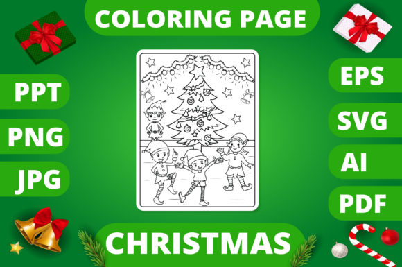 Christmas Coloring Page for Kids #9 V2 Graphic