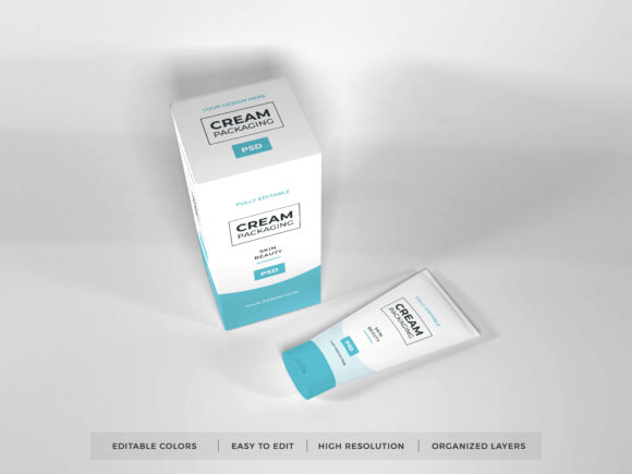 Print on Demand: Cosmetic Cream Packaging Mockup PSD Graphic Product Mockups By dendysign