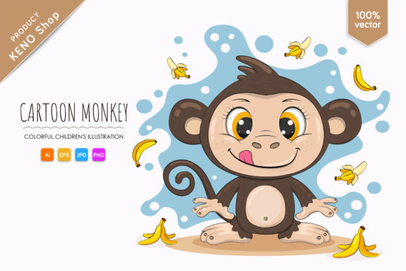Cute Cartoon Monkey Graphic Illustrations By Keno Shop