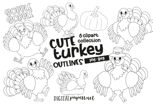 Print on Demand: Cute Turkey Outlines Clipart Graphic Illustrations By DigitalPapers