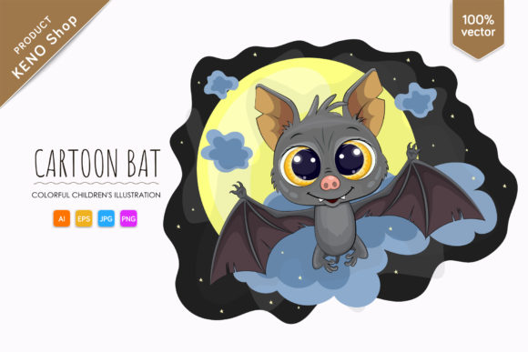 Cute Cartoon Bat Graphic Illustrations By andreykeno2020