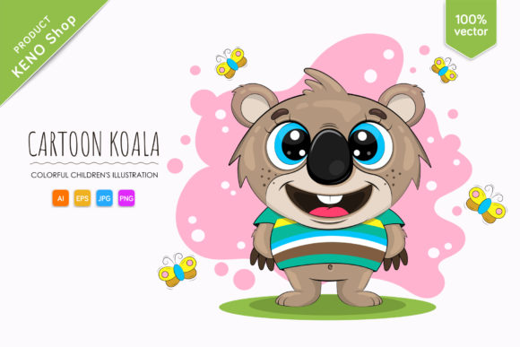 Cute Cartoon Koala Graphic Illustrations By Keno Shop