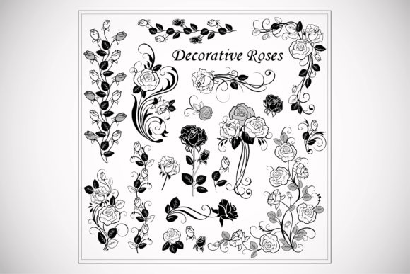 Print on Demand: Decorative Rose Lace Vector Graphic Illustrations By BOdesign
