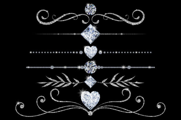 Print on Demand: Elegant Diamond Dividers PNG Clipart Graphic Illustrations By Party Pixelz