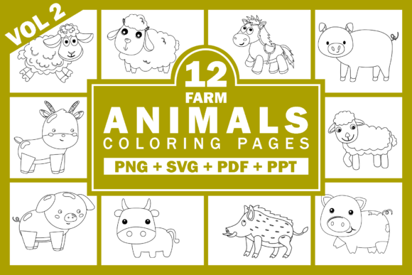 Print on Demand: Farm Animals Clipart Bundle Volume 2 Graphic Coloring Pages & Books Kids By Fayne