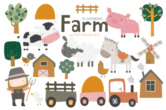 Print on Demand: Farm Clipart Set Graphic Illustrations By poppymoondesign