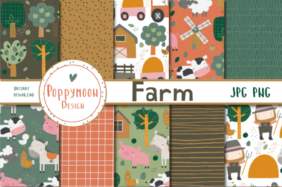 Print on Demand: Farm Paper Set Graphic Patterns By poppymoondesign