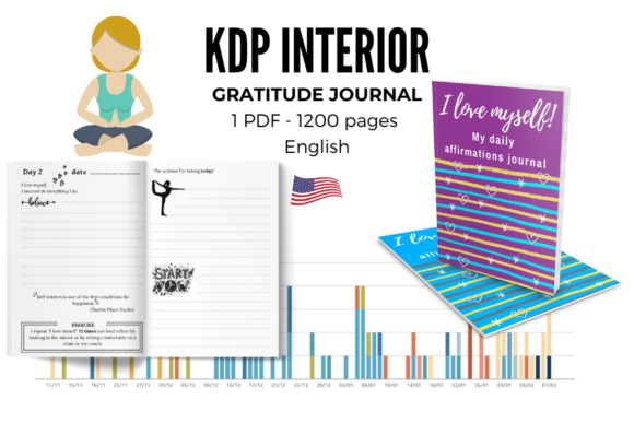 Gratitude Journal | PDF 120 Pages Graphic KDP Interiors By Piqui Designs