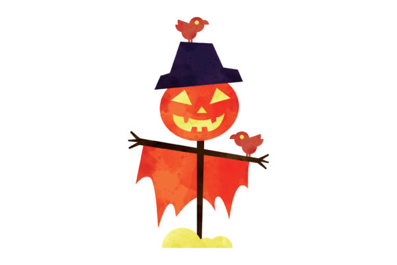 Print on Demand: Halloween Watercolor Scarecrow Graphic Illustrations By MAMD