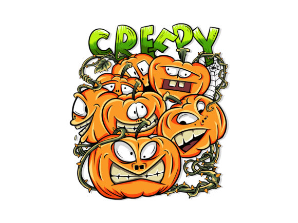 Print on Demand: Halloween Creepy Pumpkin Ediion Graphic Illustrations By gigamotiongraphic