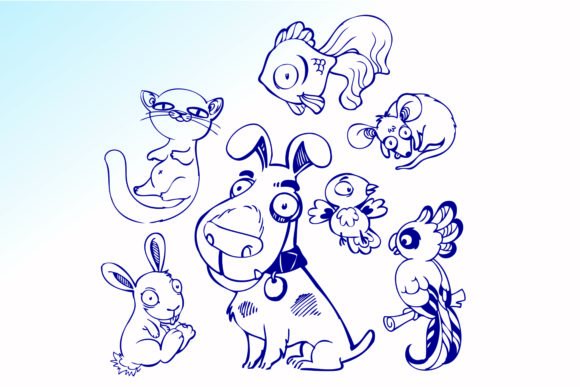 Print on Demand: Hand Drawn Animals Vectors Graphic Illustrations By BOdesign