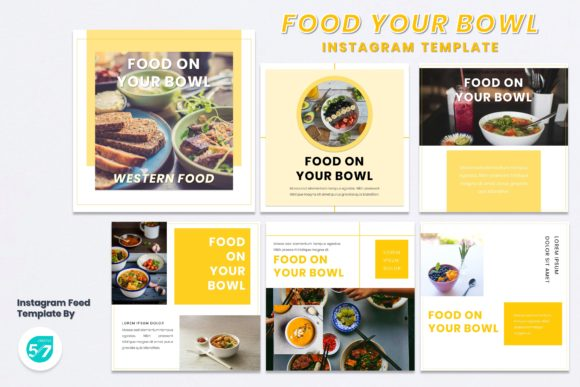 Instagram Feed - Food on Bowl Graphic Presentation Templates By 57creative
