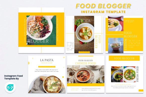 Instagram Feed Template - Food Blogger Graphic Presentation Templates By 57creative