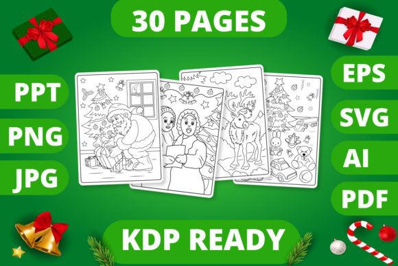Print on Demand: KDP | Christmas Coloring Book for Kids 2 Graphic Coloring Pages & Books Kids By MikeToon Studio
