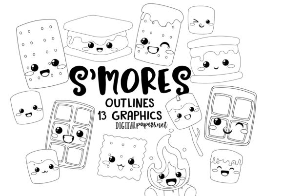 Print on Demand: Kawaii S'mores Outlines Graphic Illustrations By DigitalPapers
