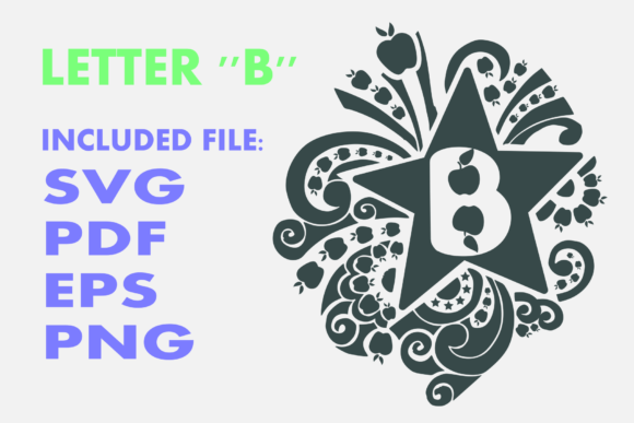 Print on Demand: Letter B Apple Star Graphic Crafts By Infontree