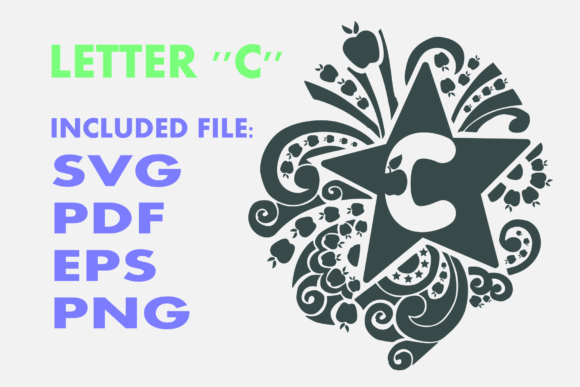 Print on Demand: Letter C Apple Star Graphic Crafts By Infontree