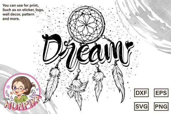 Lettering Dream and Boho Tribal Feather Graphic Crafts By huapika