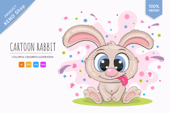 Little Cartoon Rabbit Graphic Illustrations By Keno Shop