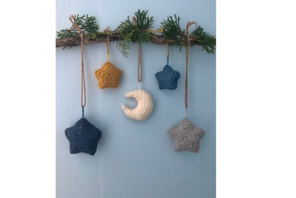 Moon and Stars Knit Christmas Ornament Graphic