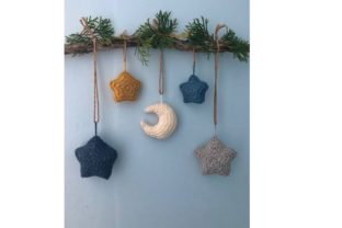 Moon and Stars Knit Christmas Ornament Graphic Knitting Patterns By Amy Gaines Amigurumi Patterns