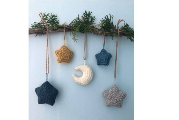 Moon and Stars Knit Christmas Ornament Graphic Download